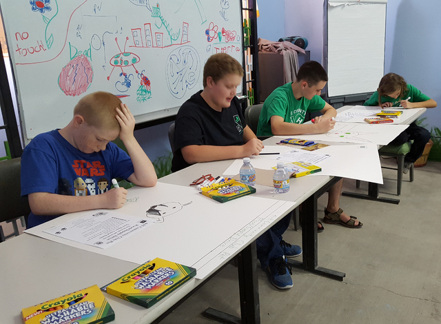 Members of the Southern Nye County 4-H Community Club make signs and boxes in preparation for their pet food/supply drive to help the Desert Haven Animal Shelter. The shelter needs used linens, no ...