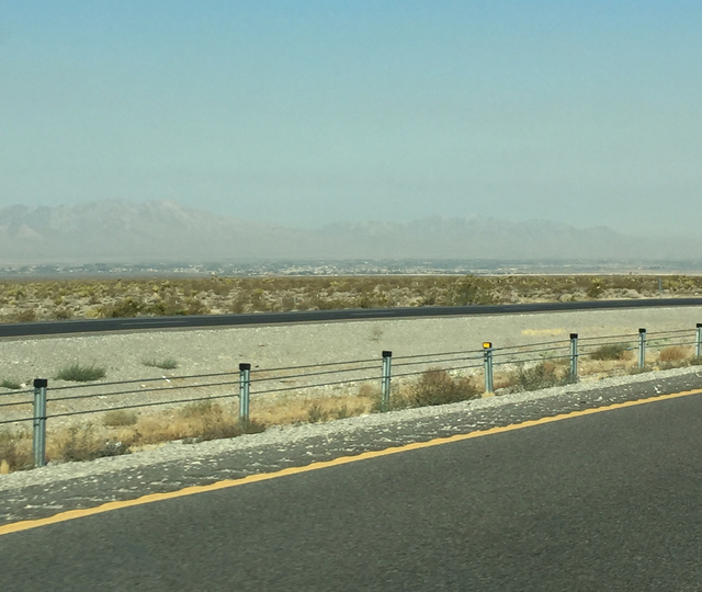 A smokey haze covers the Pahrump Valley on Wednesday morning. The smoke was from the Cajon Pass fire in California that shut down Interstate 15 until Thursday east of Victorville.  Arnold M. Knigh ...