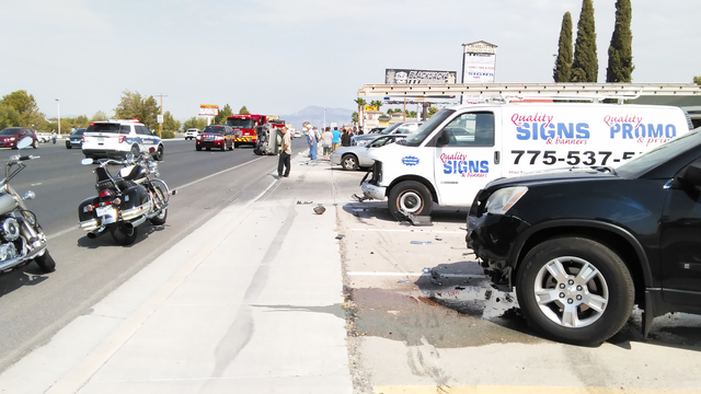 Quality Signs owner DJ Mills' parked van sustained major front-end damage following a vehicle collision along Highway 160 late Monday morning. Mills' second vehicle also suffered damage, makin ...