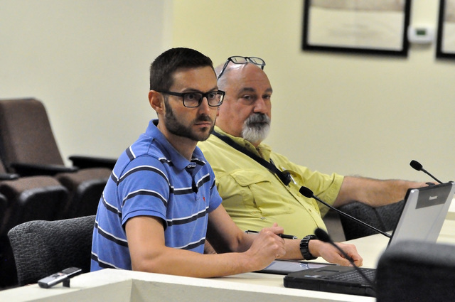Pahrump Regional Planning Commission Chairman Gregory Hafen and Nye County Planning Department Director Darrell Lacy talk to Nye County Water District Governing Board about a water conservation pl ...