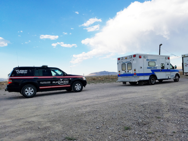 A Life Guard International/Flying ICU vehicle and a Nye County ambulance are shown in this Aug. 20 photo at the Tonopah Speedway. The county's ambulance system faces multiple challenges as it co ...