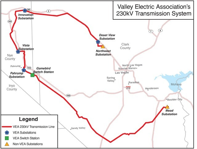 Map of the 230 kilovolt, 164-mile long transmission system Valley Electric Association, Inc. will sell if approved by a two-thirds vote by its member-owners.  Special to the Pahrump Valley Times