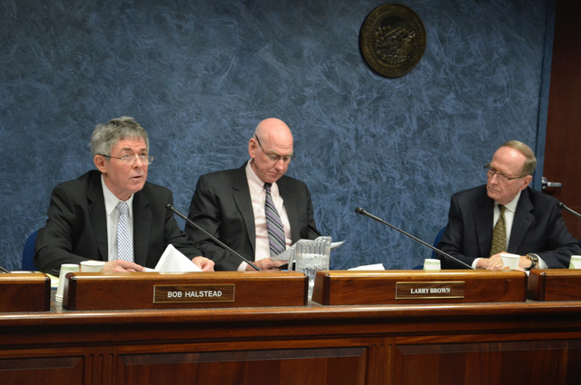 Nevada Agency for Nuclear Projects Director Robert Halstead, left, said state staff and contractors are preparing a commentary on a Nuclear Regulatory Commission update to the brochure on safety o ...