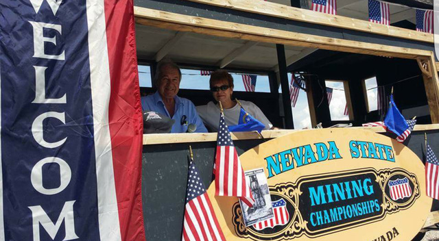 Joni Eastley, right, as shown with Bob Perchetti, left, in the announcers booth at the Nevada State Mining Championships on May 28 in Tonopah's Historic Mining Park. Eastley said last week that sh ...