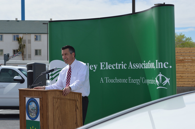 Gov. Brian Sandoval, pictured here in Beatty at an event for the electric charging stations last year, is preparing for his last regular legislative session that will culminate the efforts of his  ...
