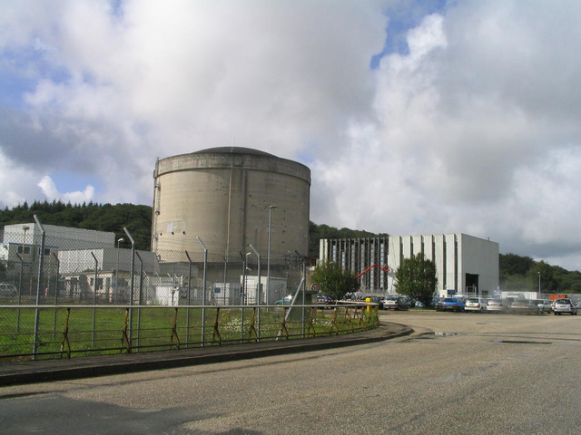 Nuclear power plant at Brennilis, France. The country obtains 75 percent of its total electric power production from nuclear reactors, the highest of any nation. Some 39 percent of France's tota ...