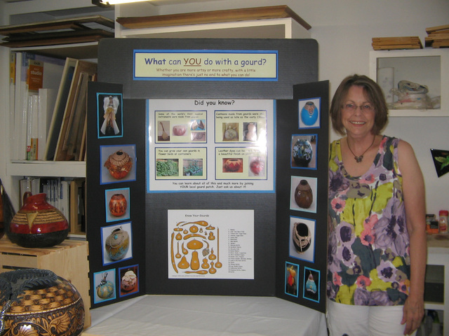 Patti Jo Newsom, director of the Pahrump Valley Gourd Patch, which she  started  after moving to Pahrump from Texas. She is also the co-founder and  co-chair of the Nevada Gourd Society, a nonprof ...