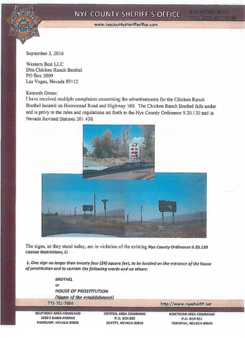 The front of a two-page letter sent by Nye County Sheriff Sharon Wehrly on Sept. 12 to the owner of the Chicken Ranch Brothel alerting him to possible county code violations for using roadside sig ...