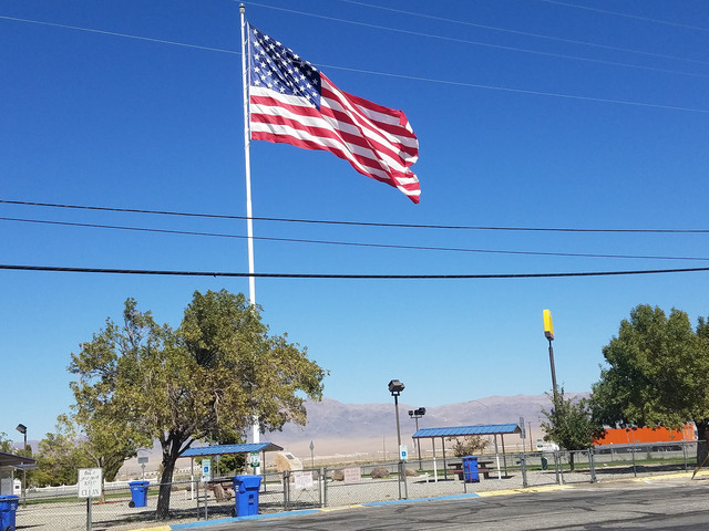 A look at the large American flag in Hawthorne as shown in this photo from earlier in September. Hawthorne's flag attracted the attention of Tonopah Town Board Chairman Duane Downing, who over the ...