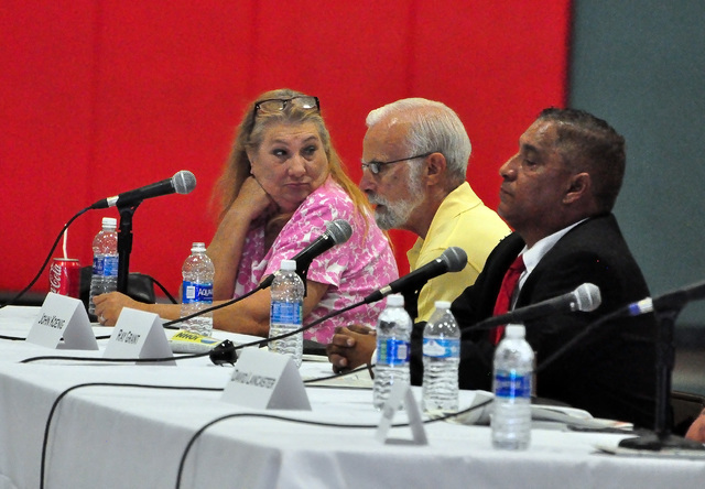 Horace Langford Jr./Pahrump Valley Times  John Koenig, center, discusses the issues facing the county during the GOP primary debate in May. He is facing a former Pahrump Town Board member in the g ...