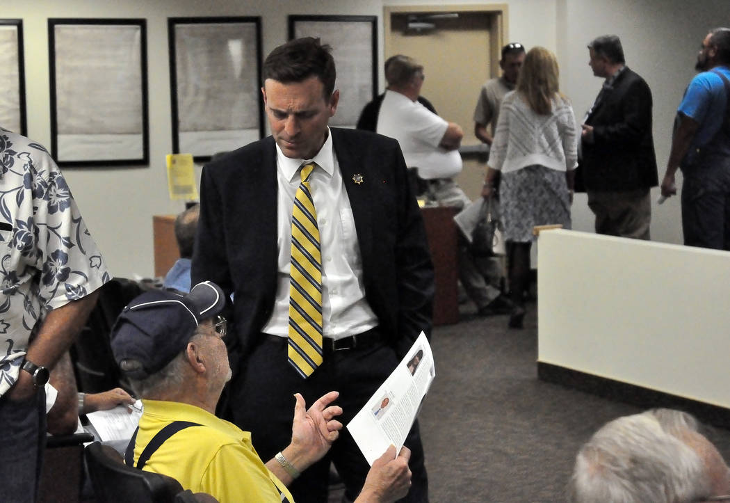 Nevada Attorney General Adam Laxalt chats with a Pahrump resident during stop in town in September. Special to the Pahrump Valley Times