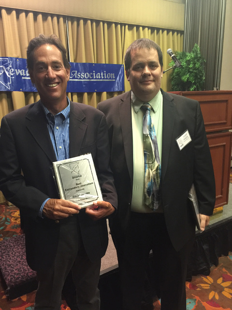 Reporter David Jacobs and editor Arnold Knightly after Jacobs won first place in the explanatory journalism category from the Nevada Press Association for coverage of a proposed Tonopah annexation ...