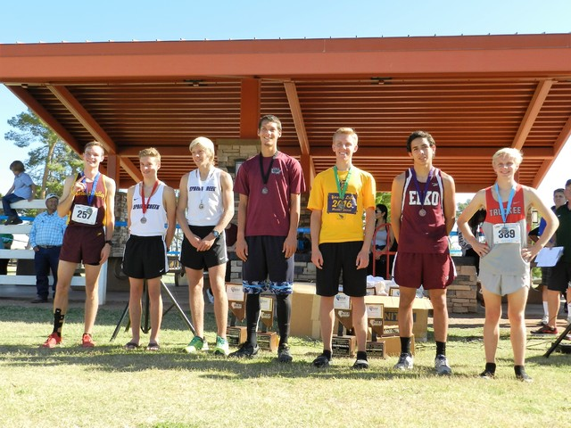 Special to the Pahrump Valley Times Bryce Odegard stands with his first place medal on the far left. The Trojans finished fifth as a team.