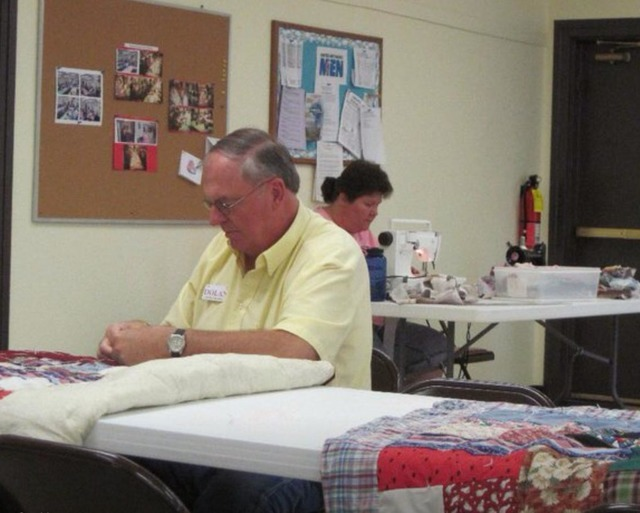 Pahrump resident Bill Dolan takes needle and thread to create pillowcases destined for students in the Nye County School District's transition program last year. The Pahrump Community Sew-in tak ...