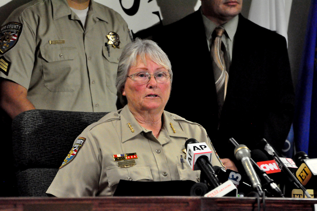 Horace Langford/Pahrump Valley Times Nye County Sheriff Sharon Wehrly, left, and District Attorney Angela Bello said they oppose ballot Question 1 that would require a background check for private ...