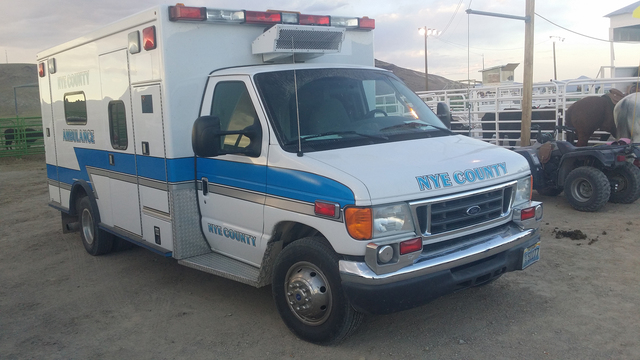 A Nye County ambulance as shown at the Tonopah Rodeo Grounds over this past summer. The Town of Tonopah is expressing concerns about ambulance and medical services in the region. Nye Regional Medi ...