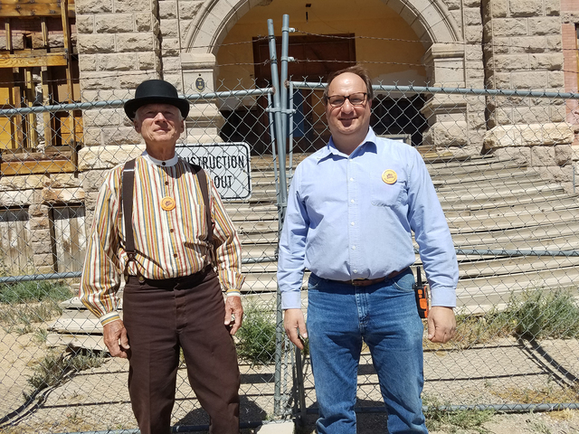 John Ekman, left, and Dominic Pappalardo, business owner and former Esmarelda County commissioner, are helping lead efforts to restore Goldfield High School. $200,000 has been estimated to have be ...