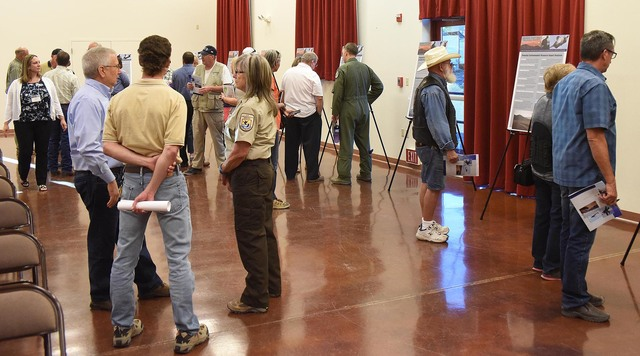 Beatty residents attend the Air Force's scoping meeting in the Beatty Community Center on Oct. 12. The meeting was about the planned expansion of the Nevada Test and Training Range, which would  ...