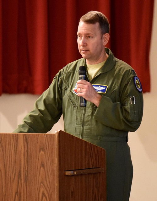Air Force Col. David Avila, commander of the Nevada Test and Training Range, discusses a plan to acquire 17,960 acres of land near Beatty to expand the range.  Richard Stephens/Special to the Pahr ...