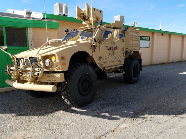 A Navy vehicle used by the SEALs  arrived in the Nye County community of Gabbs on Oct. 7 ahead of a public meeting on proposed expansion of Naval Air Station Fallon's training complex. The MRAP (m ...