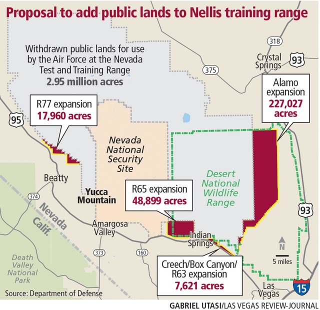 A map showing the proposed land withdrawl by Nevada Test and Training Range, including 17,960 acres northeast of Beatty