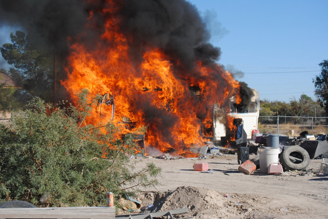 A fire on the 1000 block of Windsong Lane on Tuesday, Oct. 10, destroyed a travel trailer and additional personal items on the property just after 3 p.m. The fire was in close proximity to a neigh ...