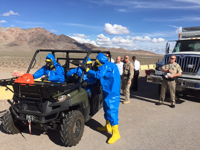 Sgt. 1st Class Michael Noyes, left, with members of the National Nuclear Security Administration's Remote Sensing Laboratory and the All-Hazards Regional Multi-Agency Operations (ARMOR) and Remo ...