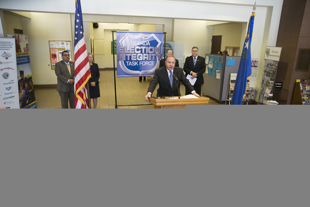 Aaron Rouse, FBI special agent-in-charge, speaks during a press conference by the Nevada Election Integrity Task Force at the Grant Sawyer State Office Building in Las Vegas on Tuesday, Oct. 18, 2 ...