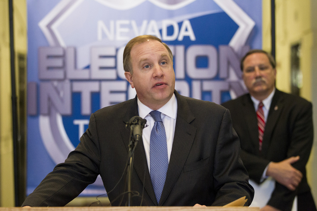 Aaron Rouse, FBI special agent-in-charge, speaks during a press conference by the Nevada Election Integrity Task Force at the Grant Sawyer State Office Building on Tuesday, Oct. 18, 2016, in Las V ...