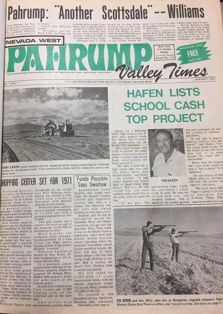 The front page of the first Pahrump Valley Times published in late December 1970. The paper was founded and owned by Milt Bozanic and started as a monthly, growing to a weekly in 1976. It is now d ...