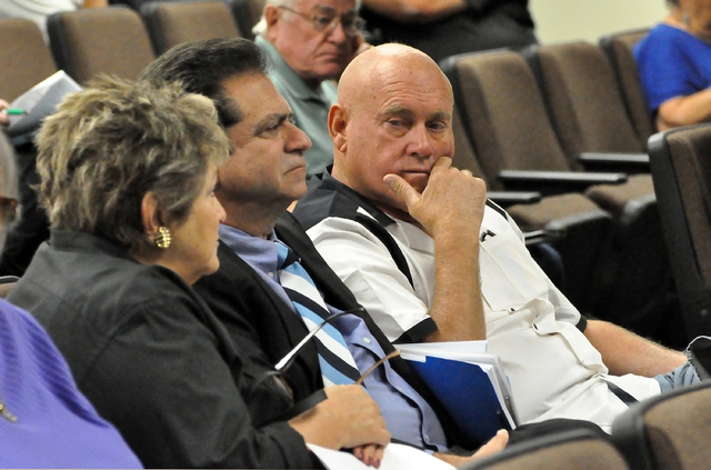 State Assembly candidate and brothel owner Dennis Hof at the Nye County Commission meeting Tuesday.  Horace Langford Jr. / Pahrump Valley Times
