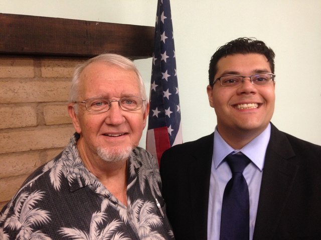 Pahrump Toastmasters Club members Bill Newyear, left, and Leo Blundo recently won the club's Humorous  and Evaluation contests respectively for 2016. The club is hosting an open house on Thursda ...