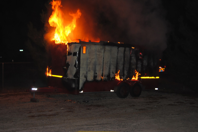 A utility trailer was destroyed on the 1700 block of Casey Street last Tuesday Oct. 18, just after 11:30 p.m. No injuries were reported as a result of the blaze. The cause of the fire is thought t ...