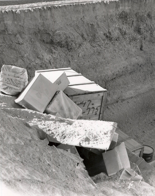 Boxes of low-level radioactive waste are seen at the landfill, 11 miles south of Beatty, in this undated photo.  Las Vegas Review-Journal file