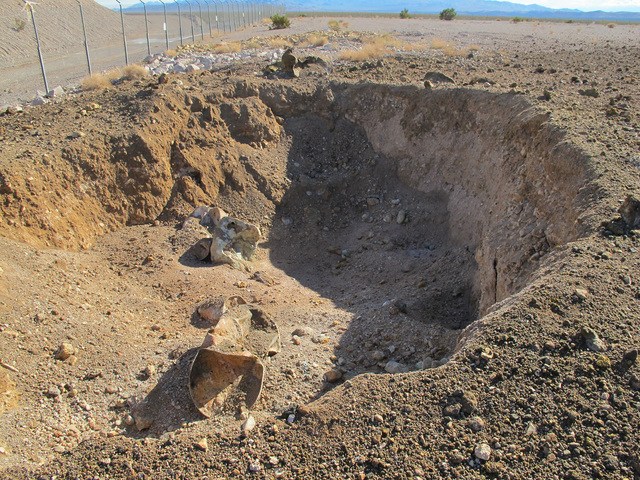 The site of the blast is seen at a low-level radioactive waste landfill 11 miles south of Beatty on Oct. 18, 2015. Courtesy of Maj. Nate Taylor/Nevada Army National Guard