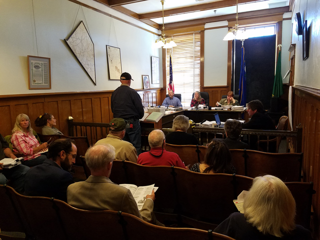 The Esmeralda County Commission meets as shown in this Oct. 4 photo in Goldfield. A draft of a bill establishing land uses and regulations for land development in Esmeralda County did not move for ...