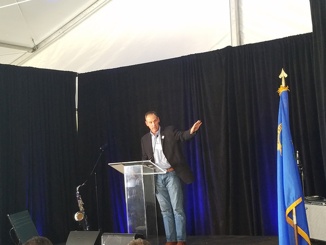 Former Tonopah Town Manager James Eason speaks to the crowd at the solar celebration at SolarReserve's Crescent Dunes solar plant Oct. 11. Eason, who grew up in Tonopah, spoke of the solar plant ...