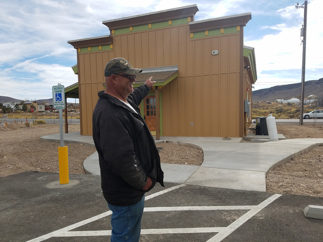 Esmeralda County official Mike Anderson discusses the newly built visitors center in Goldfield. Work that still needs to be completed includes landscaping, outfitting the building's interior and ...