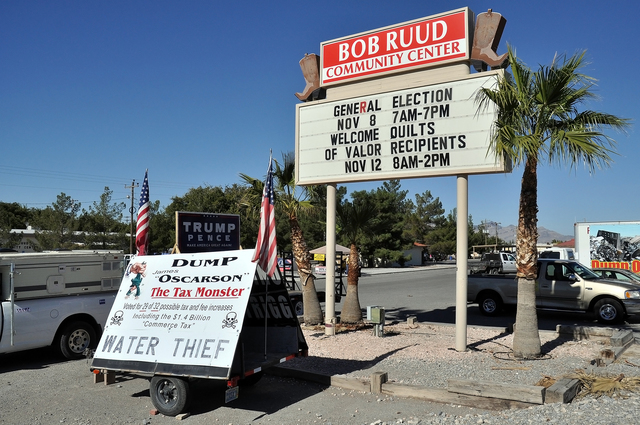 Horace Langford Jr. / Pahrump Valley Times A large campaign sign outside the Bob Ruud Community Center on Tuesday during the General Election.