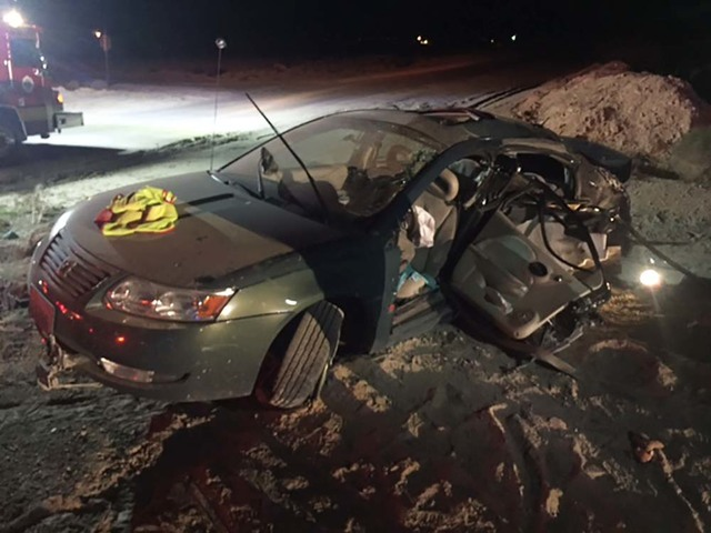 One person was transported by ground to Desert View Hospital and later flown to UMC Trauma in Las Vegas with critical injuries following a two-vehicle collision at the intersection of Bell Vista A ...