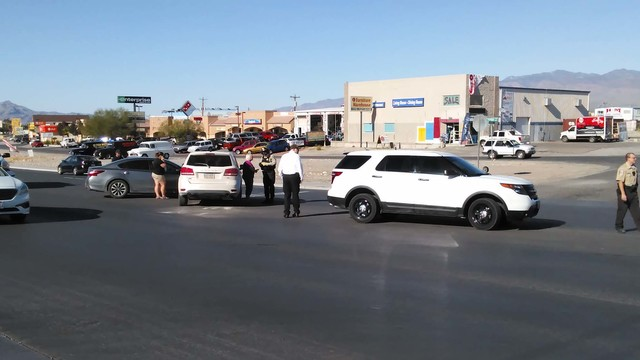 Northbound traffic on Highway 160 was squeezed down to one lane following a two-vehicle T-bone type collision at the intersection of Wilson Road on Wednesday, Nov. 9. Pahrump fire crews evaluated  ...