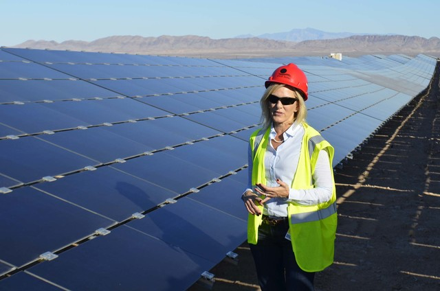 Laura Abram, director of public affairs for San Francisco-based First Solar, discusses the company's Sunshine Valley Solar Project in Amargosa Valley, which will use technology similar to this M ...