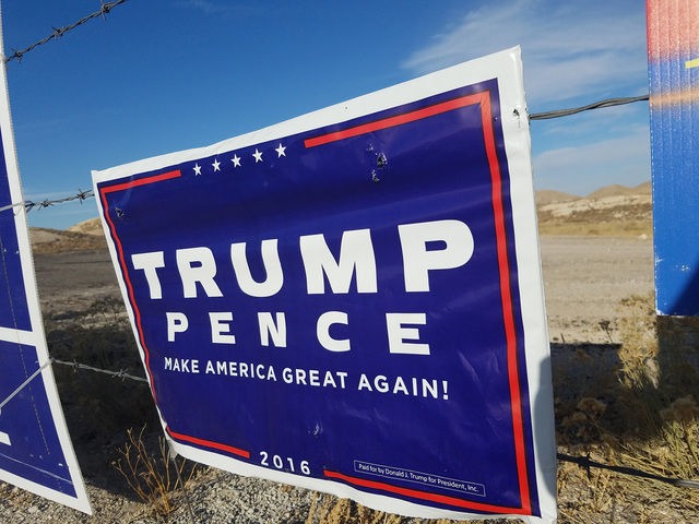 A campaign sign for Donald Trump and Mike Pence as shown in a Nov. 12 photo taken near the Nye-Esmeralda county line. Trump won Nye County by a large margin in the Nov. 8 presidential election.  D ...