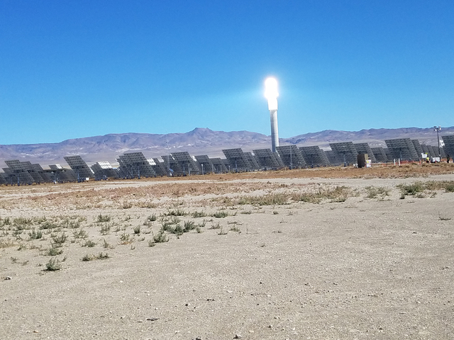The solar tower gleams at SolarReserve's Crescent Dunes solar plant as shown in this October photo. The solar plant near Tonopah stores energy.  David Jacobs/Times-Bonanza & Goldfield News