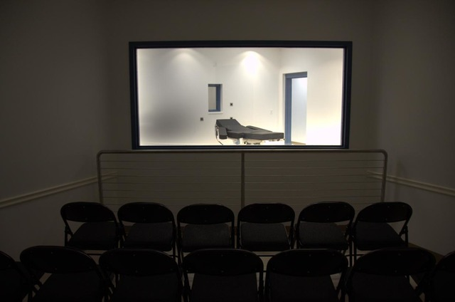 A view of the lethal injection gurney from a viewing room of the newly completed execution chamber at Ely State Prison.  Courtesy the Nevada Department of Corrections