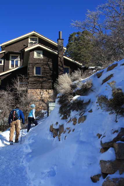 Hikers head up to the trailhead along the more challenging Bright Angel Trail near the El Tovar Hotel.  Deborah Wall/Special to the Pahrump Valley Times