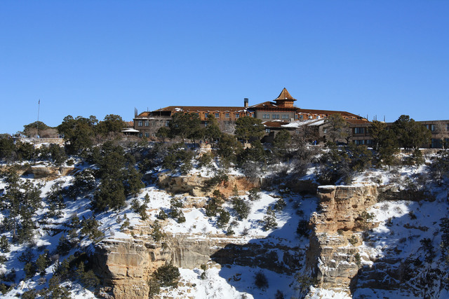 The El Tovar Hotel sits directly on the South Rim of the Grand Canyon. The paved and flat Rim Trail passes by it and makes a wonderful place to take a winter hike. Deborah Wall/Special to the Pahr ...
