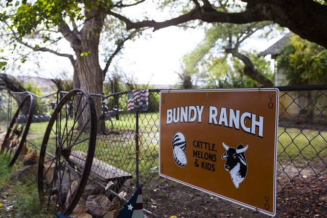 A sign is shown at Bundy Ranch in Bunkerville on Friday, Oct. 28, 2016. A federal judge has ordered three separate trials for the 17 defendants in the armed standoff case involving Nevada rancher  ...