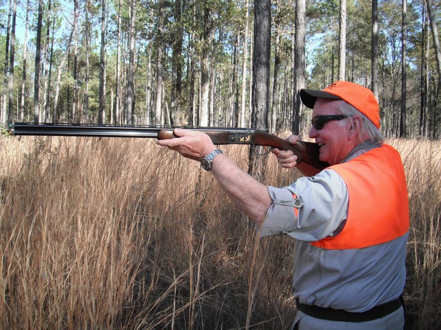 "Hunter Emil Girardin is ""on a bird"" as he lines up his shot during a recent southern bobwhite quail hunt in Georgia. Dan Simmons/Special to the Pahrump Valley Times"