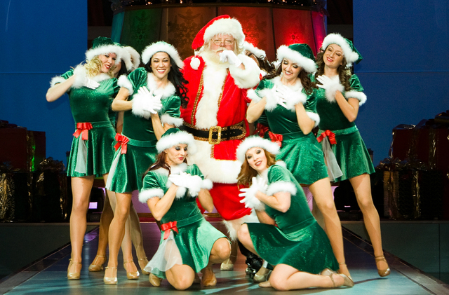 """Santa Bob and his elves: Actor Bob Lauder Jr. as Santa Claus from the """"Believe In The Magic"""" Christmas show at the Fashion Show Mall in Las Vegas. Bob Lauder Jr./Special to the Pahrump Valley  ..."""